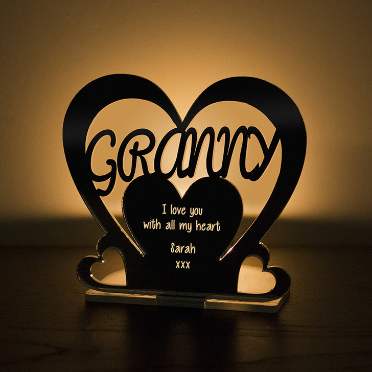 Personalised Tealight Candle Holder For GRANNY