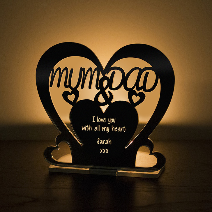 Personalised Tealight Candle Holder For MUM & DAD
