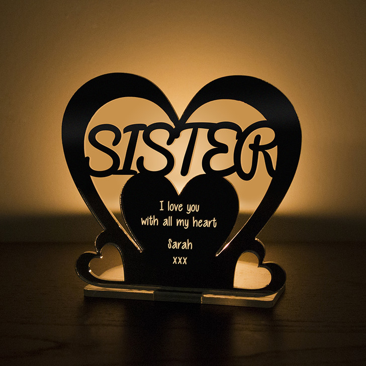 Personalised Tealight Candle Holder For SISTER