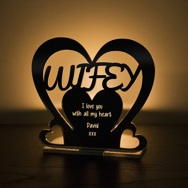 Personalised Tealight Candle Holder For WIFEY
