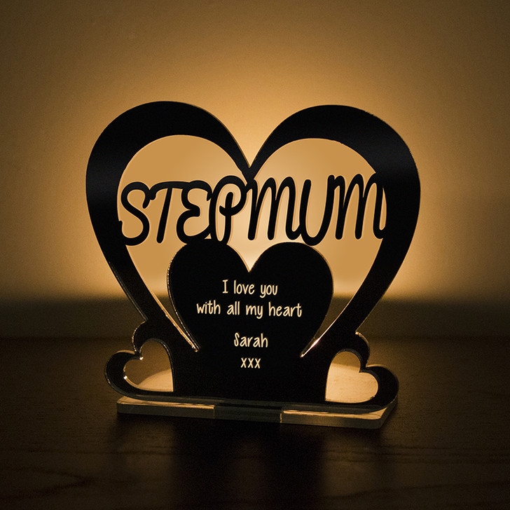 Personalised Tealight Candle Holder For STEP MUM
