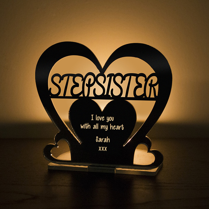 Personalised Tealight Candle Holder For STEP SISTER