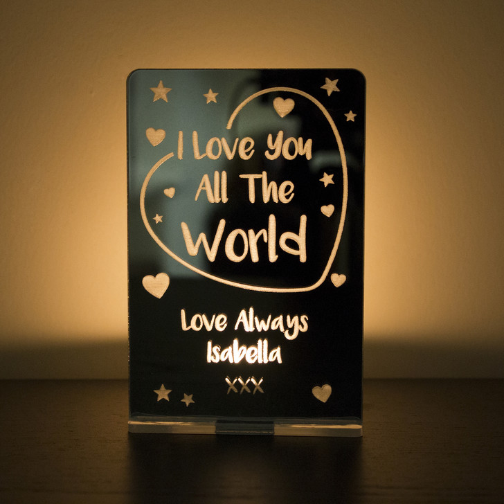 "Personalised ""I Love You All The World"" Tealight Candle Holder"