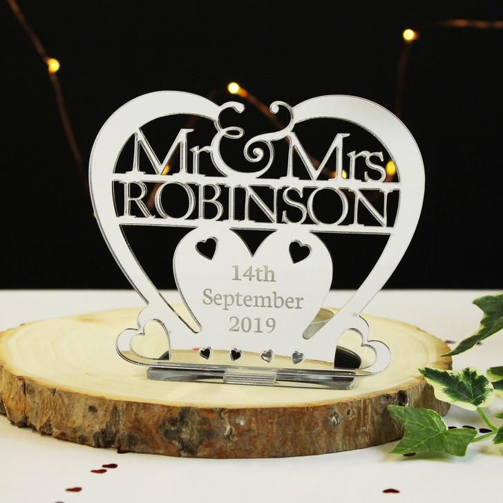 Personalised Silver Heart Tea Light Candle Holder Mr & Mrs Surname and Date - Wedding or Anniversary Gift