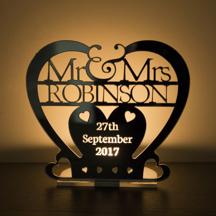 Personalised Tea Light Candle Holder Mr & Mrs Surname and Date | Heart Wedding or Anniversary Gift
