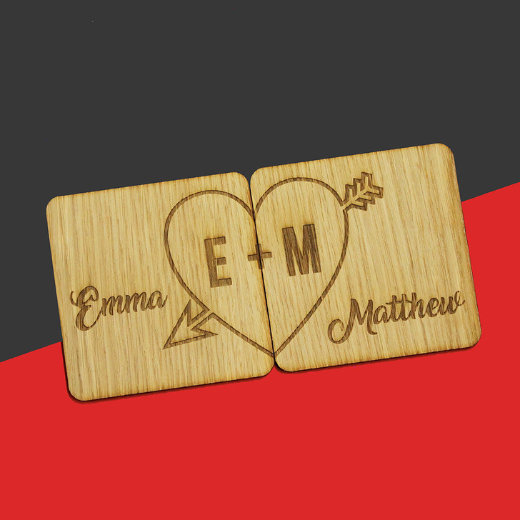 Personalised Initials Wooden Coaster Set with Arrow Heart