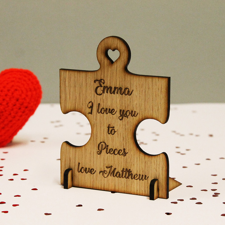 "Personalised Jigsaw ""I Love You To Pieces"" Wooden Oak Standing Plaque / Card"