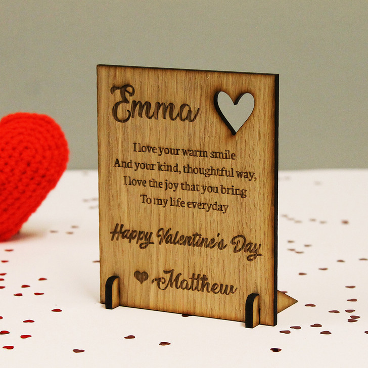 Personalised Happy Valentine's Day Wooden Oak Standing Plaque / Card