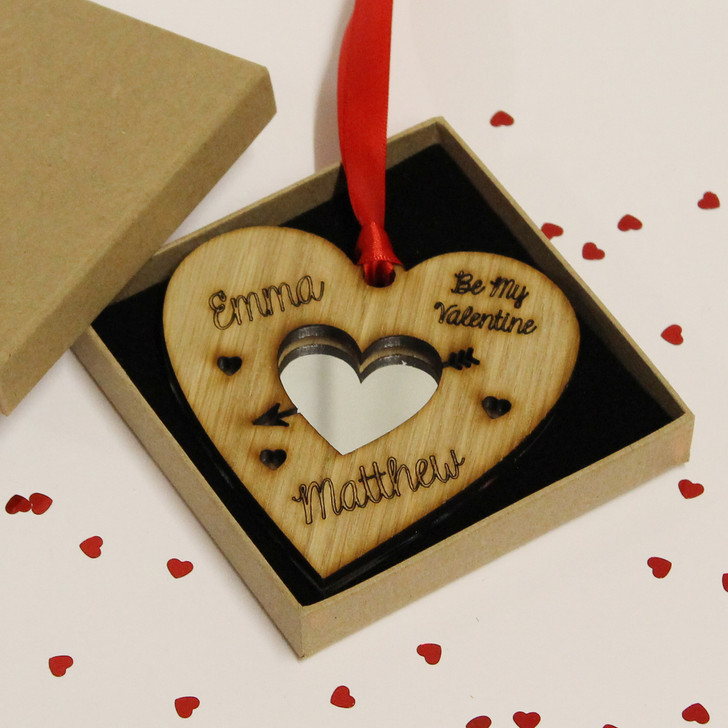 Be My Valentine Personalised with Names Wood & Mirror Love Heart