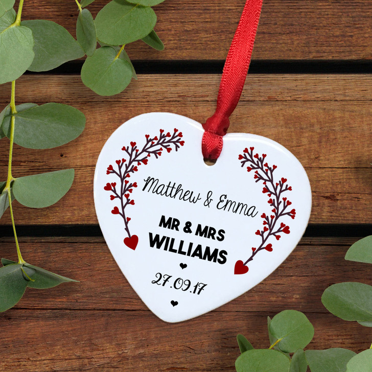 Personalised Mr & Mrs Ceramic Heart Keepsake - Anniversary Gift Idea