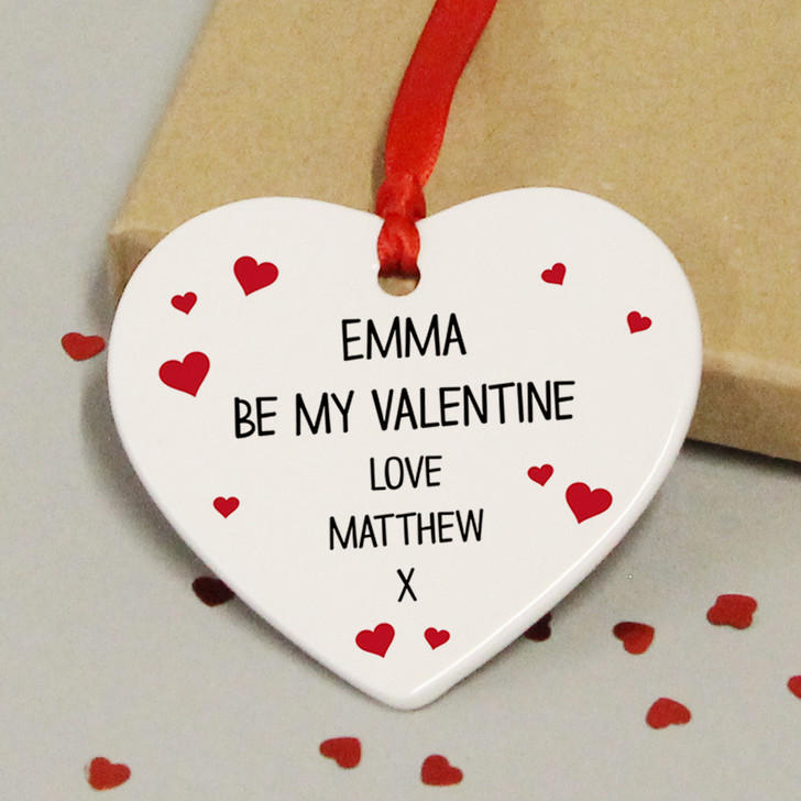 Personalised Be My Valentine Ceramic Heart Keepsake Gift