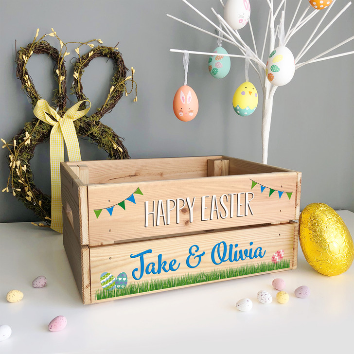 Personalised Wooden Easter Crate Box, Easter Basket For Children