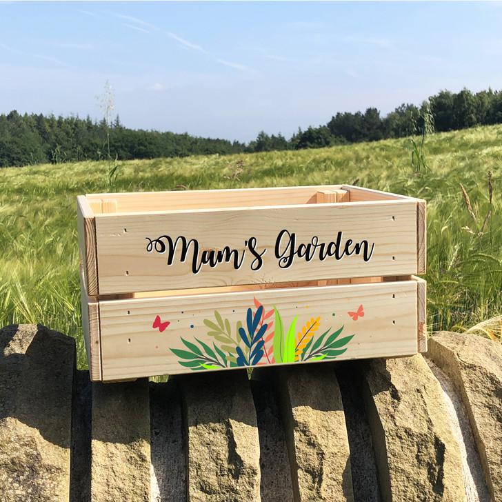 Personalised Floral Garden Planter Flower Gift Crate - Birthday, Anniversary, Wedding Present