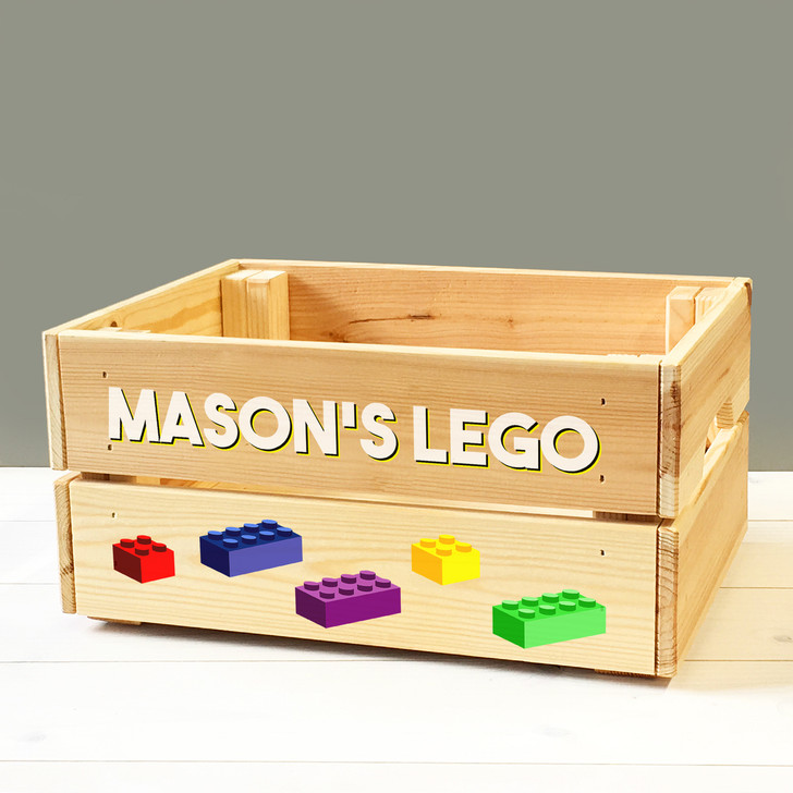 Personalised Kids Toy Lego Bricks Wooden Storage Toy Box Crate for Children