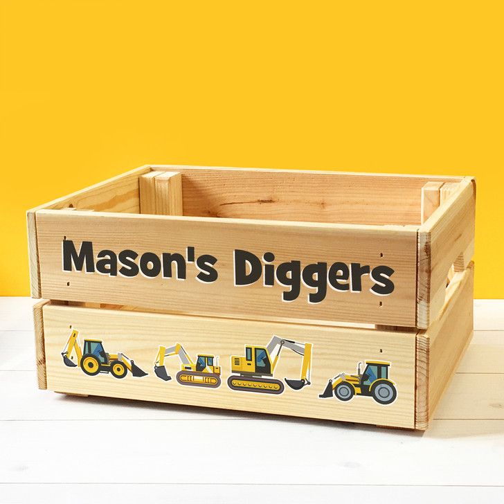 Personalised Kids Toy Diggers & Vehicles Wooden Storage Toy Box Crate for Children