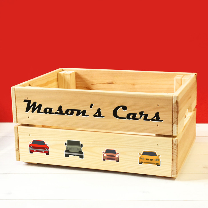 Personalised Kids Toy Cars & Vehicles Wooden Storage Toy Box Crate for Children