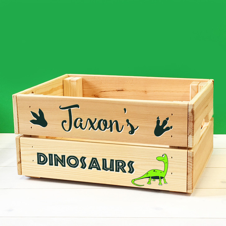 Personalised Kids Toy Dinosaurs Wooden Storage Toy Box Crate for Children