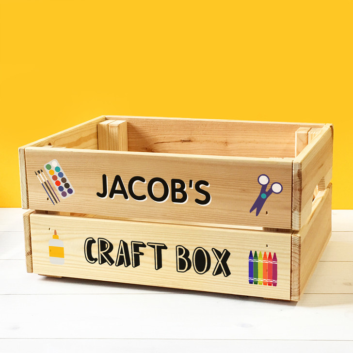 Personalised Kids Arts & Crafts Wooden Storage Box Crate For Children BOY or GIRL