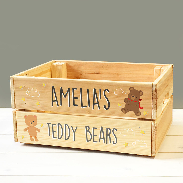 Personalised Kids Teddy Bears Soft Toys Wooden Storage Toy Box Crate for Children