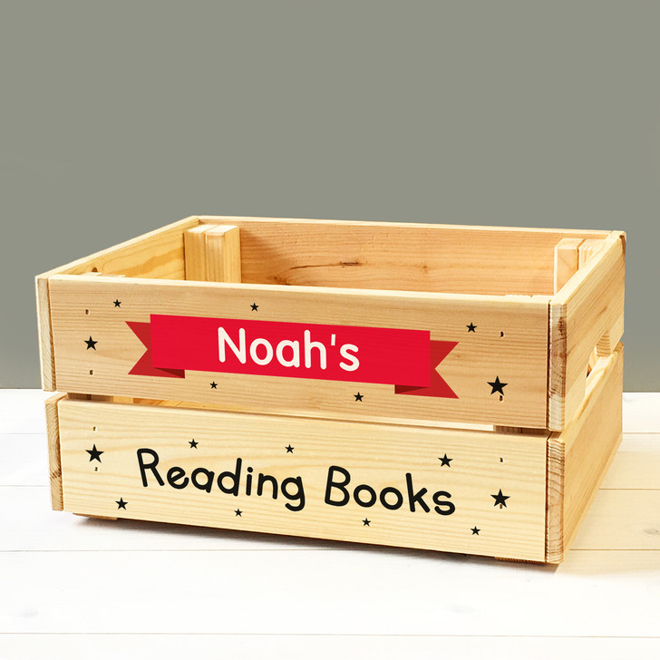 Personalised Children's School Reading Book Box, Kids Wooden Book Box Crate For BOY or GIRL