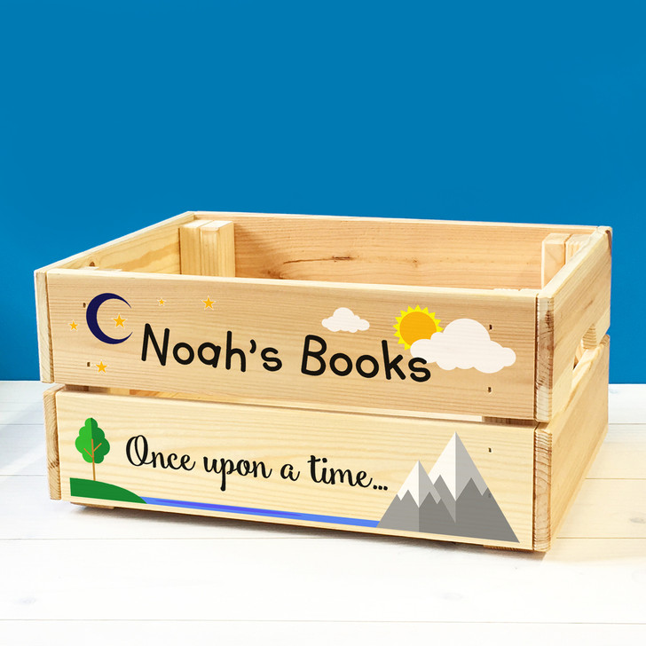 Personalised Children's Bedtime Story Book Box, Kids Wooden Book Box Crate For BOY or GIRL