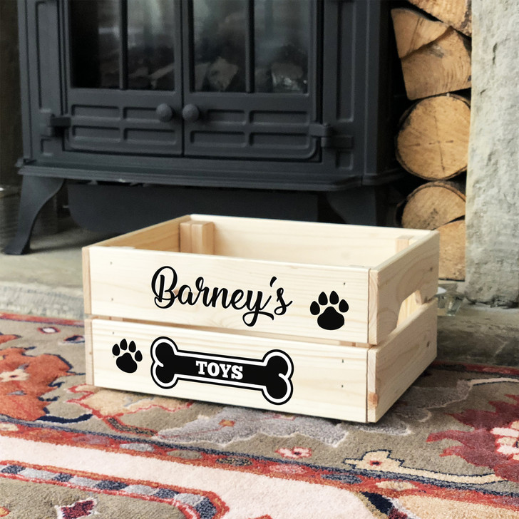 Personalised Wooden Dog and Puppy Pet Toy Box Storage Crate