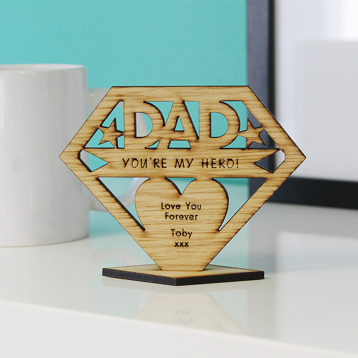 DAD You're My Hero! Personalised Keepsake Gift - Personalised Father's Day or Birthday Gift for Dad, Daddy