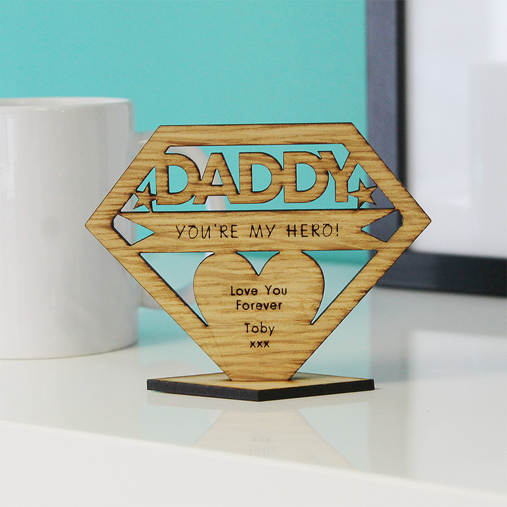 DADDY You're My Hero! Personalised Keepsake Gift- Personalised Father's Day or Birthday Gift for Dad, Daddy