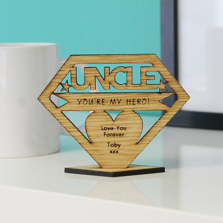 UNCLE You're My Hero! Personalised Keepsake Gift - Personalised Birthday Gift for Uncles