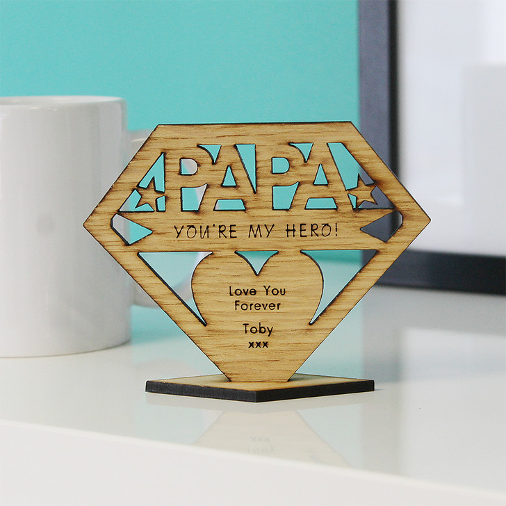 PAPA You're My Hero! Personalised Keepsake Gift - Personalised Father's Day or Birthday Gift for Papa, Pops, Dad, Grandad
