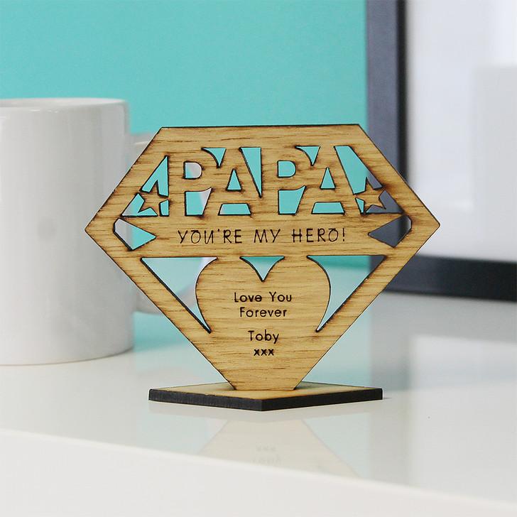 PAPA You're My Hero! Personalised Keepsake Gift