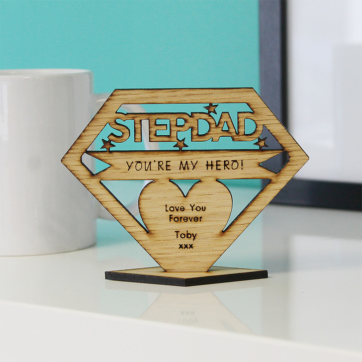 STEPDAD You're My Hero! Personalised Keepsake Gift - Personalised Father's Day or Birthday Gift for Step Dad, Stepdad