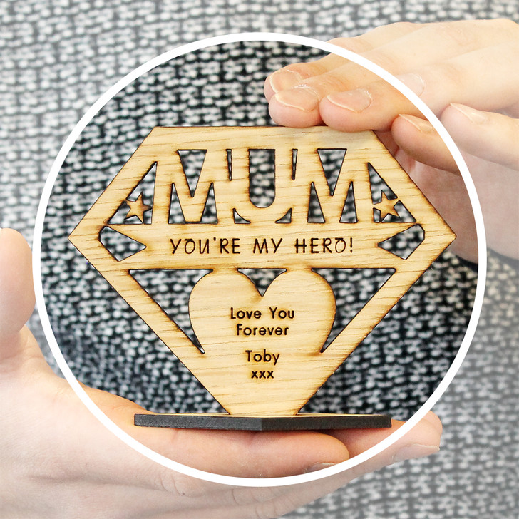 MUM You're My Hero! Personalised Keepsake Gift - Personalised Mother's Day or Birthday Gift for Mum, Mummy