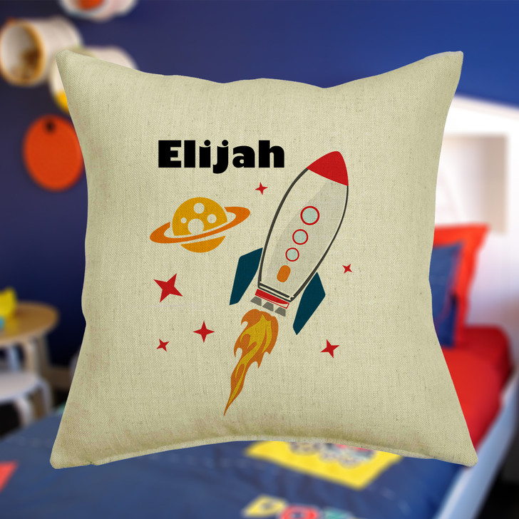 Personalised Space Rocket Cushion Cover With Any Name Printed