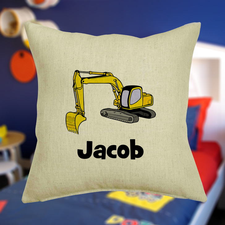 Personalised Digger Cushion Cover With Any Name Printed