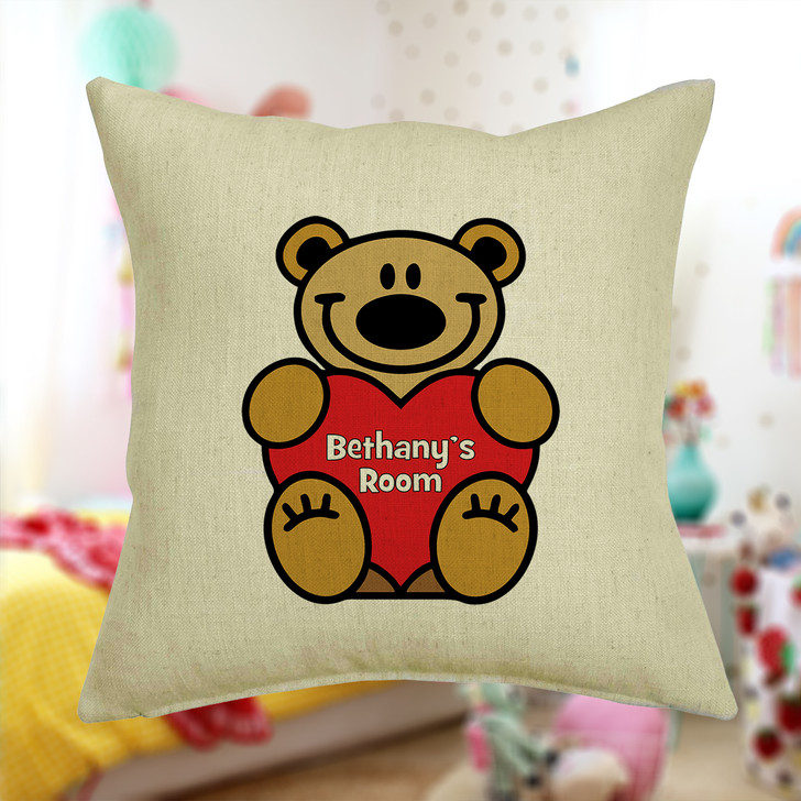 Personalised Teddy Bear Cushion Cover With Any Name Printed
