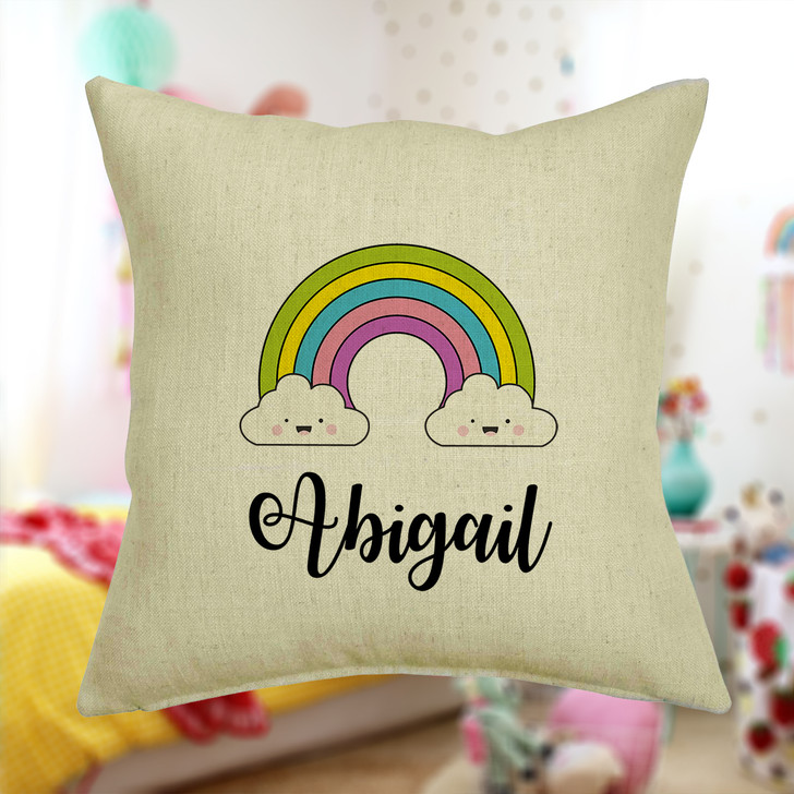 Personalised Rainbow & Clouds Cushion Cover With Any Name Printed