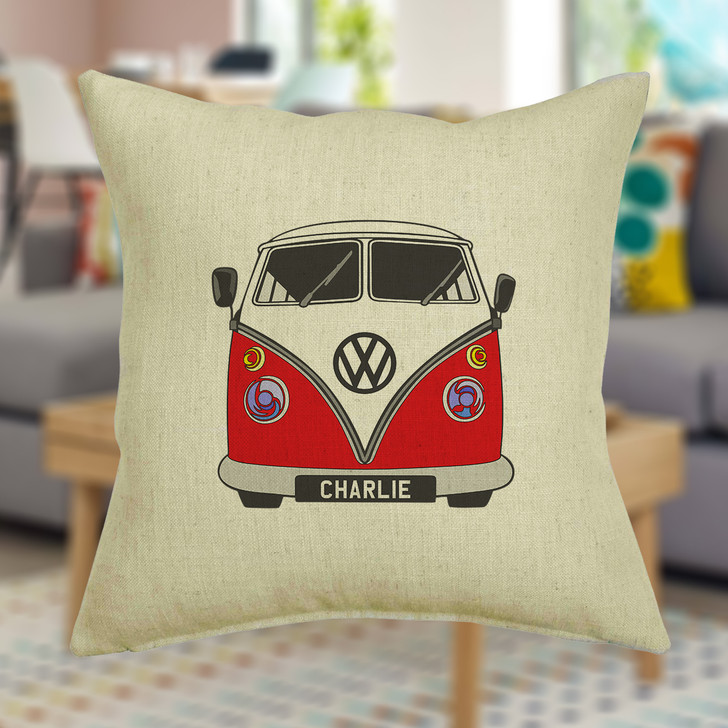 Personalised Campervan Cushion Cover With Any Name Printed