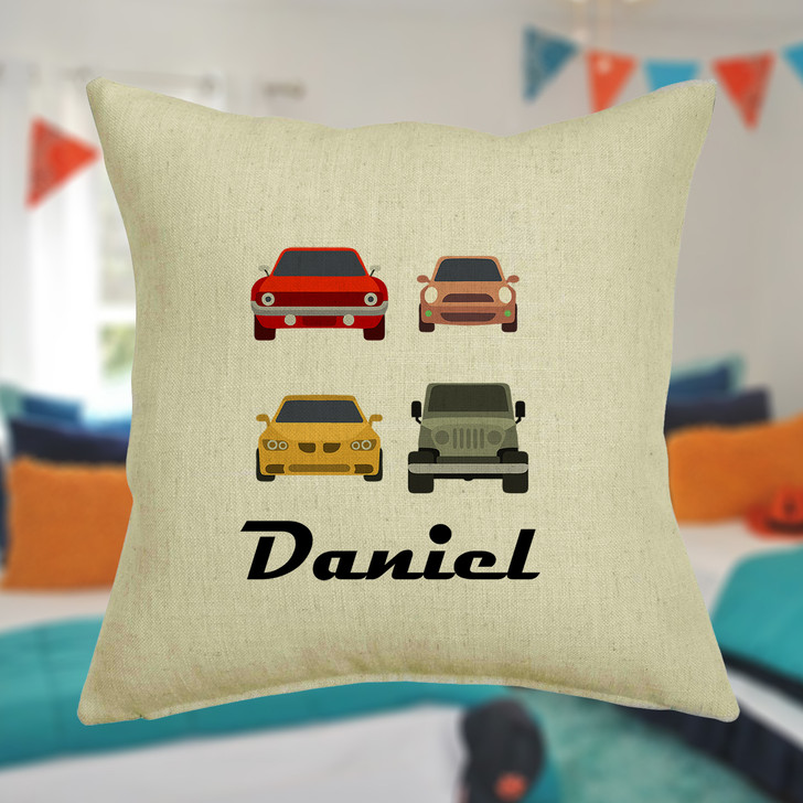 Personalised Toy Cars Cushion Cover With Any Name Printed