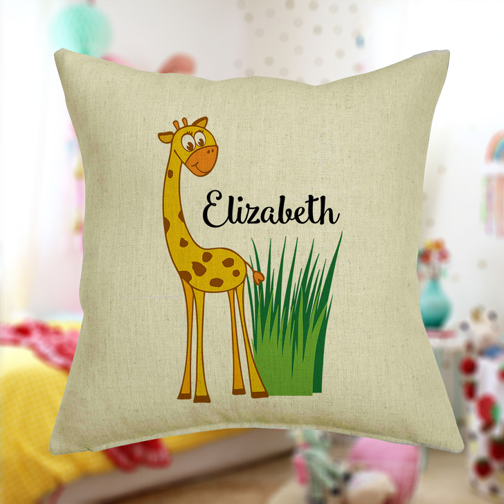 Personalised Giraffe Cushion Cover With Any Name Printed