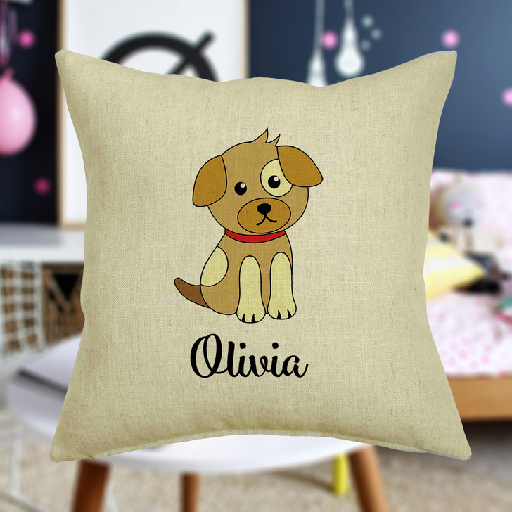 Personalised Puppy Dog Cushion Cover With Any Name Printed