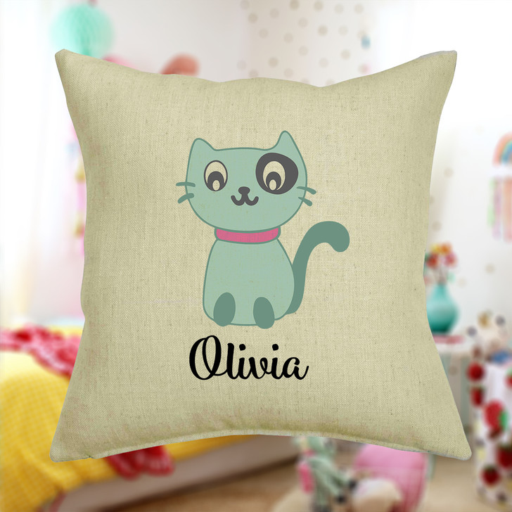 Personalised Kitten Cat Cushion Cover With Any Name Printed