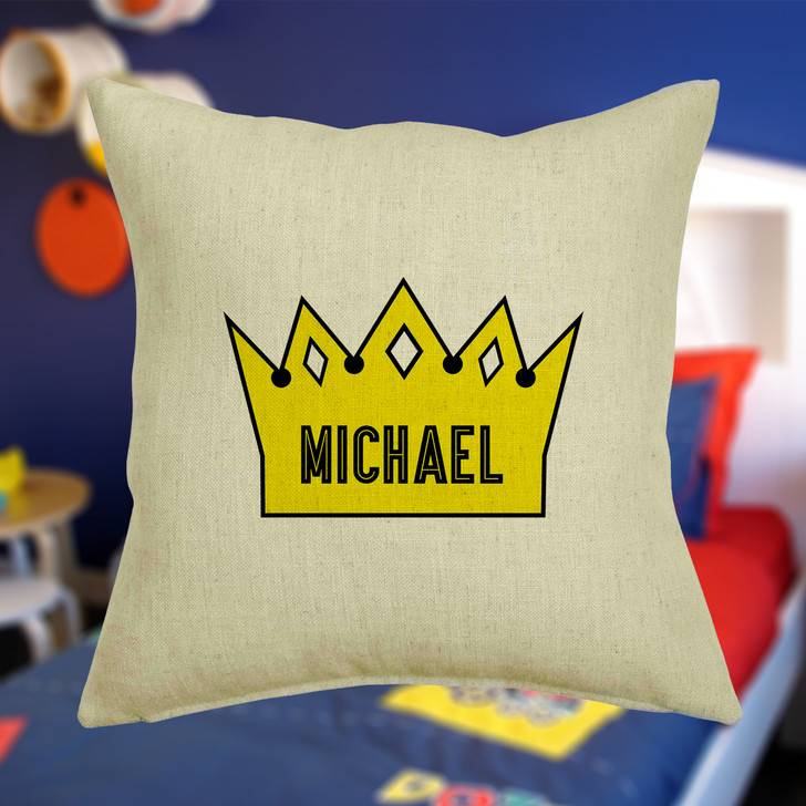 Personalised Prince Crown Cushion Cover With Any Name Printed