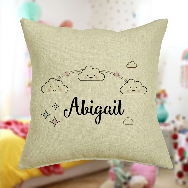 Personalised Clouds And Stars Cushion Cover With Any Name Printed