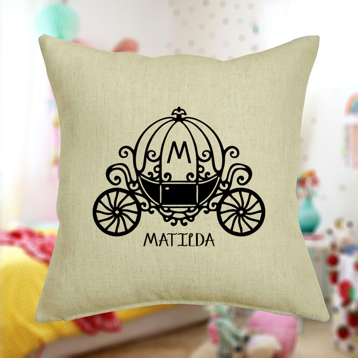 Personalised Fairytale Carriage Cushion Cover With Any Name Printed