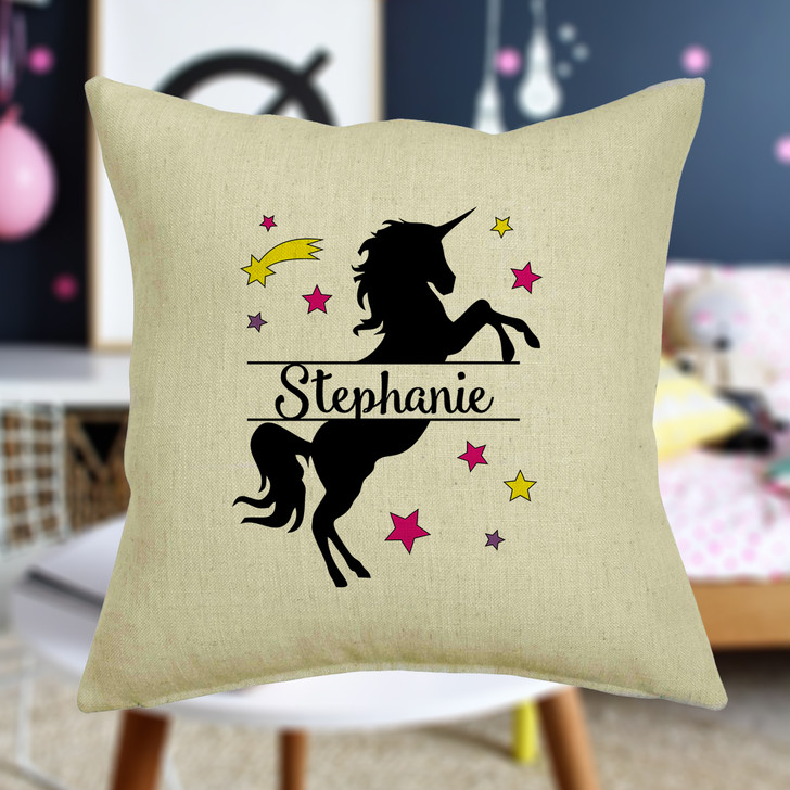 Personalised Prancing Unicorn Cushion Cover With Any Name Printed