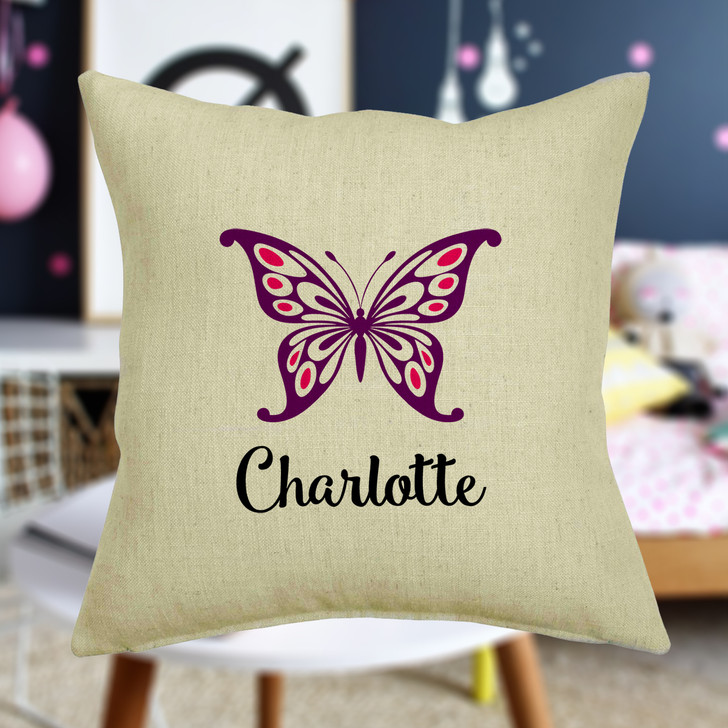 Personalised Butterfly Cushion Cover With Any Name Printed