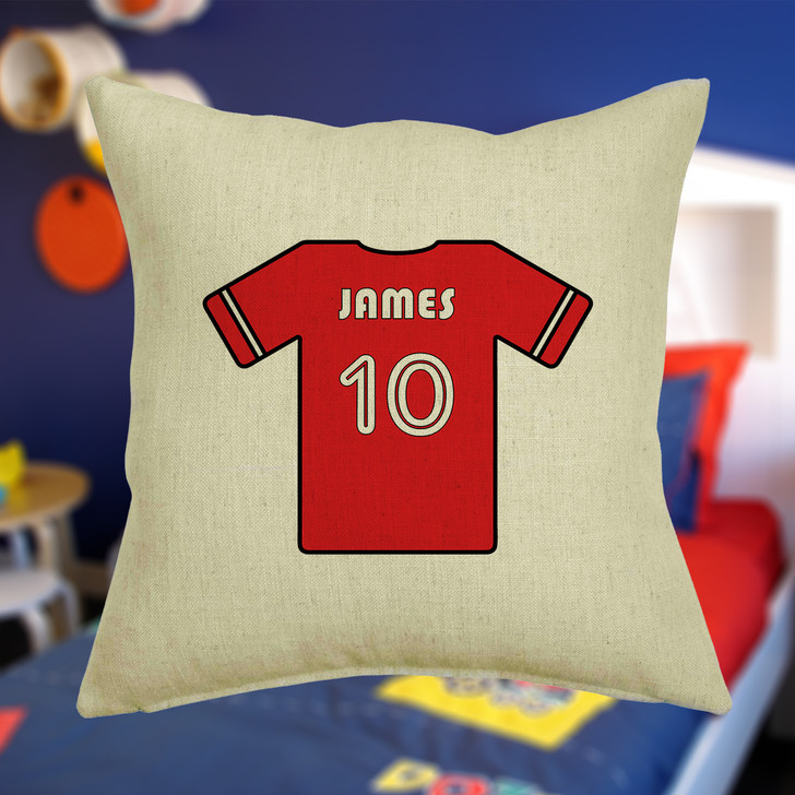 Personalised Football Shirt Cushion Cover With Any Name Printed