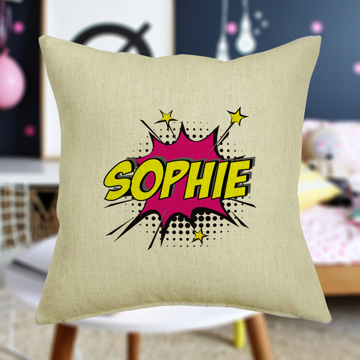 Personalised Pop Art Comic Book Style WOW Cushion Cover