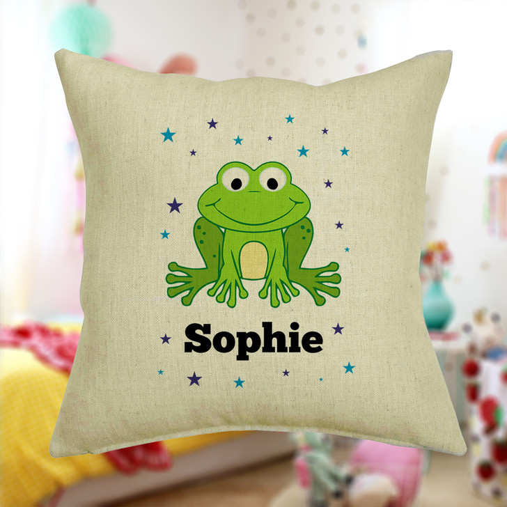 Personalised Frog Cushion Cover With Any Name Printed